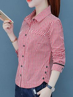 Turn Down Collar Decorative Buttons Checkered Blouses Night Dress For Women, Embroidery Fashion, Kurta Designs, Blouse Online, Blouse Styles, Fashion Dresses, Couture, Shirt Dress, Clothes