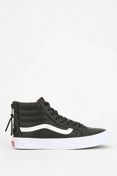 Vans Back-Zip Leather Womens High-Top Sneaker - Urban Outfitters Shoes Heels Boots, Heeled Boots, Leather Vans, Black Vans, Vans Sk8, Crazy Shoes, Types Of Shoes, Loafer, Birkenstock