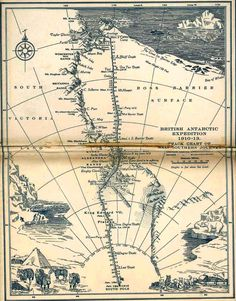 """Map of the outward and return journeys to the South Pole made by Robert Falcon Scott and his team in 1911-1912. It was included in the 1923 edition of """"Scott's Last Expedition""""."""