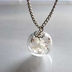 Dandelion+Necklace+Resin+Ball+Dandelion+by+NaturalPrettyThings,+$23.00