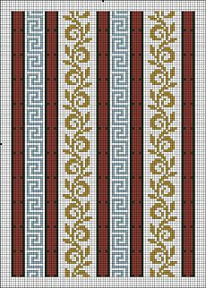 This Pin was discovered by mil Cross Stitch Boarders, Cross Stitch Flowers, Cross Stitch Designs, Cross Stitch Patterns, Bead Loom Patterns, Weaving Patterns, Tapestry Crochet, Crochet Motif, Boarder Designs