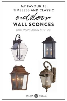 Classic outdoor lights are inviting, but also look like they have been there forever, without looking dated. Here are my favourite classic and timeless outdoor wall sconce lights. Outdoor Wall Sconce, Outdoor Walls, Wall Sconce Lighting, Wall Sconces, Outdoor Spaces, Cool Lighting, Outdoor Lighting, Lighting Design, Lighting Ideas