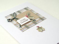 CIJ  Happy Christmas Card Holly & Plaid 3D by NoDittoDesign