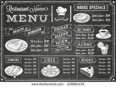 A full vector template Chalkboard menu for restaurant and snack bars with grunge elements. File is organized with layers for ease of use. - stock vector
