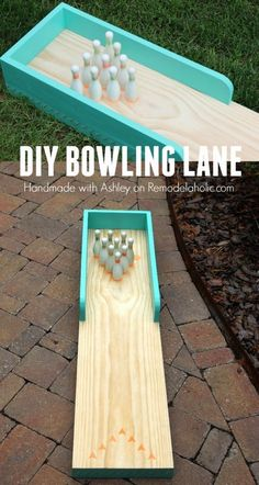 So fun! This indoor-outdoor bowling lane is great for a playroom or an outdoor y. So fun! This indoor-outdoor bowling lane is great for a playroom or an outdoor yard game, too! So fun! This indoor-outdoor bowling lane is great for a. Outdoor Bowling, Outdoor Yard Games, Indoor Outdoor, Backyard Games, Party Outdoor, Backyard Ideas, Backyard Projects, Lawn Games, Giant Outdoor Games