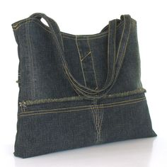 Recycled purse , up cycled denim shoulder bag , one of a kind eco handbag , repurposed clothing