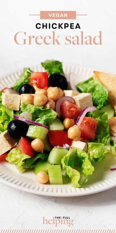 This is a plant-based spin on traditional Greek salad, made with the wholesome addition of chickpeas. It features a tart, salty vegan tofu feta, crisp romaine, tomatoes, cucumbers, and red onion. #vegan #vegetarian Great Salad Recipes, Vegan Lunch Recipes, Quinoa Salad Recipes, Salad Recipes For Dinner, Chickpea Salad, Vegan Vegetarian, Traditional Greek Salad, Greek Vinaigrette, Food Website