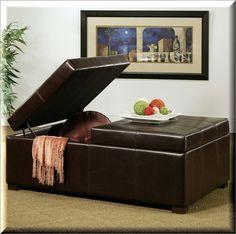 Leather Storage Ottoman Brown Double Flip Top Rectangular Living Room Furniture    eBay