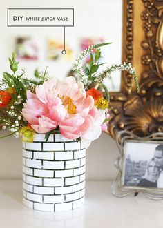 Transform a plain glass vase with a #DIY painted brick pattern.
