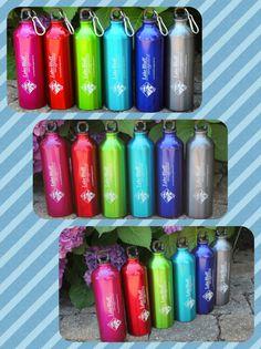 Aluminum Water Bottle in many colors--  #waterbottle  http://www.beachhouselogos.com/aluminum_water_bottle.asp