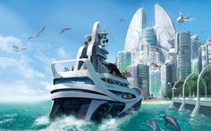 city on the water concept art - Google Search