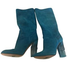 Pre-owned boots (505 RON) ❤ liked on Polyvore featuring shoes, boots, turquoise, low shoes, casadei, pre owned shoes, low-heel boots and casadei boots