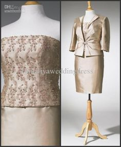 Wholesale Simple 2013 Cheap Sheath Long Sleeve Jacket Applique Mini Champage Wedding Mother Of The Bride Dress, Free shipping, $123.2-145.6/Piece | DHgate
