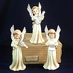 Boxed Set Ceramic 1950s Japan Musical Angel Figurines