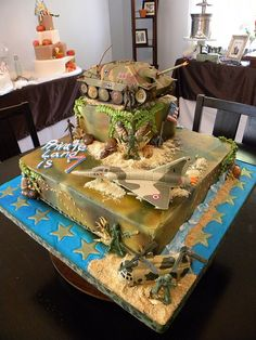 army birthday cakes | carson s birthday cake white cake with vanilla buttercream army themed ...