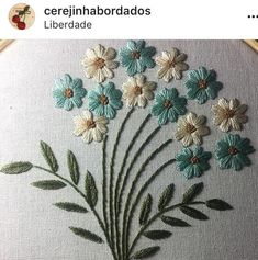 Jana Segmehl's media content and analytics Zardozi Embroidery, Embroidery Flowers Pattern, Hand Embroidery Stitches, Silk Ribbon Embroidery, Embroidery Hoop Art, Crewel Embroidery, Hand Embroidery Designs, Learn Embroidery, Cross Stitch Embroidery