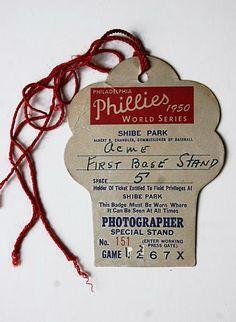 Philadelphia Phillies 1950 World Series Photographer Pass Shibe Park Philadelphia Athletics, Philadelphia Sports, Yankees World Series, Phillies Baseball, History Teachers, Picture Logo, Nostalgia, Cathedrals, Phan