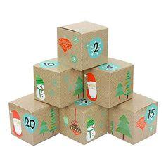 DIY Adventskalender Kisten Set - Nikolaus - 24 bunte Kisten zum Aufstellen und zum selber Befüllen Logos, Lineup, Crates, Santa Clause, Cardboard Paper, Boxes, Decals, Logo, A Logo