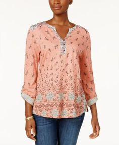 Style & Co Printed Roll-Tab-Sleeve Top, Created for Macy's