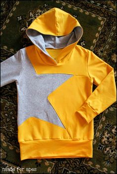 Made for Apes: DIY Star Hoodie (kids diy fashion) Diy Sweatshirt, Diy Pullover, Sewing Tutorials, Sewing Projects, Sewing Patterns, Sewing Diy, Sewing Kids Clothes, Sewing For Kids, Sewing Dress