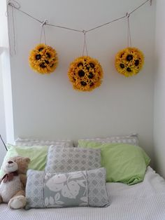 Sunflower Balls (Pomander, Kissing Ball) to hang above the bed