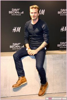 David Beckham: H&M Bodywear Promotion in Berlin!: Photo David Beckham keeps it stylish while presenting his new bodywear line for H&M at Alexa shopping centre on Tuesday (March in Berlin, Germany. Style David Beckham, David Beckham Boots, Stylish Men, Men Casual, Tan Leather Boots, Tan Boots, Blue Boots, Brown Boots, David And Victoria Beckham