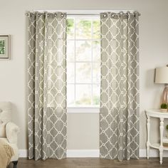 Though window dressings are always delightful, curtains are certainly not limited to only framing your view to the outside world! Take this decorative design for example: with its two-tone trellis motif and sleek grommet top, it's an art piece all on its own. Try using a pair to highlight the French doors to the dining room to welcome guests at your next dinner party, then tie the pattern to your tablescape with trellis-patterned napkins and polished silver candlesticks for a flickering g...