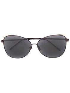 LINDA FARROW oval frame sunglasses. #lindafarrow #sunglasses