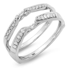 0.23 CT 14k White Gold Round Real Diamond Bridal Anniversary Guard Double Ring !