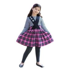 f543365ed15 WonderLand Little Girls Bubblegum Plaid Stripe T-Shirt Mira Skirt Set 2-6