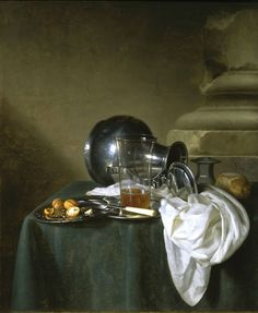Simon Luttichuys (London 1610-1661 Amsterdam), Still life with a Pewter jug, a glass of beer and walnuts on Pewter dishes, all arranged on a table draped with a green cloth, 1649. Oil on canvas, 78 x 64.1 cm. Signed on the right 'S. L. fecet / 1649'/. French & Company, Llc © TEFAF Maastricht, 2016