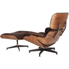 Eames Style Lounge Chair And Ottoman Brown Leather Walnut Wood - Designdistrict