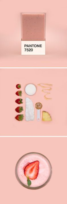 """Swedish-born art director Hedvig Astrom Kushner's """"Pantone Smoothies"""" series pairs healthy smoothies with their corresponding Pantone color codes"""