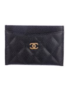 In stores now. Quilted caviar leather Chanel card holder with gold-tone CC appliqué at front and four card slots. Serial number reads 19224755. Includes dust bag and box.