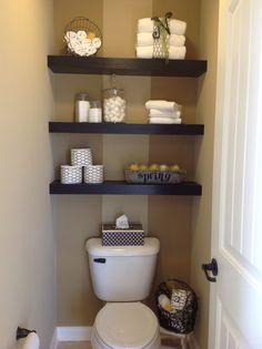 floating shelves above toilet | Floating shelving in MB toilet area. | bathroom ideas | Pinterest