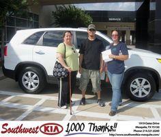 #HappyAnniversary to Sandra Weatherwax on your 2013 #Kia #Sorento from Stephanie Floyd at Southwest Kia Mesquite!