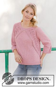 Knitted sweater with raglan in DROPS Merino Extra Fine. The piece is worked top down with lace pattern. Sizes S - XXXL Lace Knitting Patterns Sweet Heather / DROPS - Free knitting patterns by DROPS Design Lace Knitting Patterns, Knitting Blogs, Lace Patterns, Knitting For Beginners, Free Knitting, Drops Design, Crochet Design, Drops Patterns, Pulls