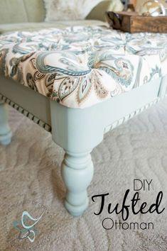 Diy-Tufted-Ottoman-Coffee Table-repurposed-furniture-painted- bench-www.designeddecor.com #repurposedfurnituretable
