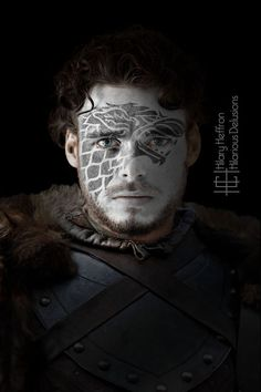 Robb Stark (Winter Edition) Game of Thrones War Paint by Hilary Heffron - Hilarious Delusions Eddard Stark, Sansa Stark, Winter Is Here, Winter Is Coming, Familia Stark, Game Of Thrones Tv, Game Of Trones, Dark Men, I Love Games