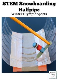 Winter Olympic Sports - STEM Snowboarding Halfpipe : This is a fun STEM activity that can be used for creative play. Children will create a half pipe with paper clip springs and a wooden peg snowboarder.