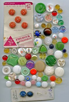 SOLD: Lot of vintage glass buttons mixed group