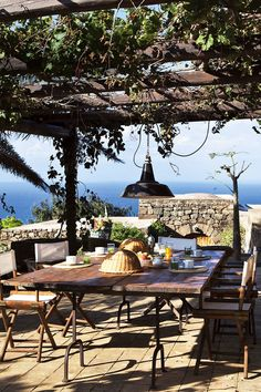 The terrace of Tenuta Borgia Estate in Pantelleria, Sicily. Life Is Beautiful, Beautiful Places, Beautiful Pictures, Porches, Fresco, Outdoor Spaces, Outdoor Living, Gazebos, Large Backyard Landscaping