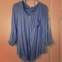 Small Blue Top - Soft Joie 3/4 sleeve blue top. Size small but fits like a medium. 100% viscose. Machine wash cold. Tumble dry low. Extremely soft! Only looks wrinkled because it got squished in my closet.  Joie Tops