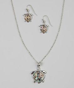 Abalone & Silver Turtle Pendant Necklace & Drop Earrings