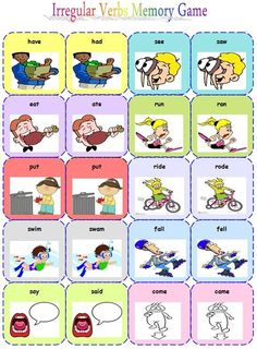 Znalezione obrazy dla zapytania irregular verbs memory game