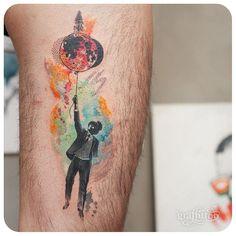 moon & man - #타투 #그라피투 #tattoo #graffittoo #watercolortattoo #수채화타투
