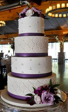 My dream wedding cake ! the color on this wedding cake makes it pop! maybe do this in turquoise with the quilted pattern and pearls in coral Wedding Cake Bakery, Fondant Wedding Cakes, Purple Wedding Cakes, Elegant Wedding Cakes, Beautiful Wedding Cakes, Wedding Cake Designs, Fondant Cakes, Beautiful Cakes, Amazing Cakes