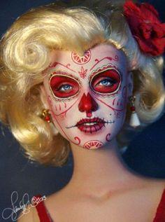 Laurie Leigh fashion art doll - sugar skull -  dio de los muertos