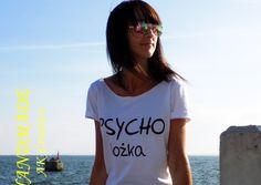 """t-shirt luźny """"PSYCHOLOŻKA"""" - AK-Creativo - Koszulki z napisami"""