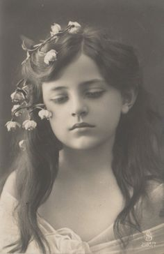 RPPC Real Photo Postcard Very Beautiful Edwardian Girl Flowers Long Hair Sad | eBay